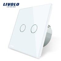 Livolo 2 Gang 1 Way Wall Touch Switch White Crystal Glass Switch Panel EU Standard 220