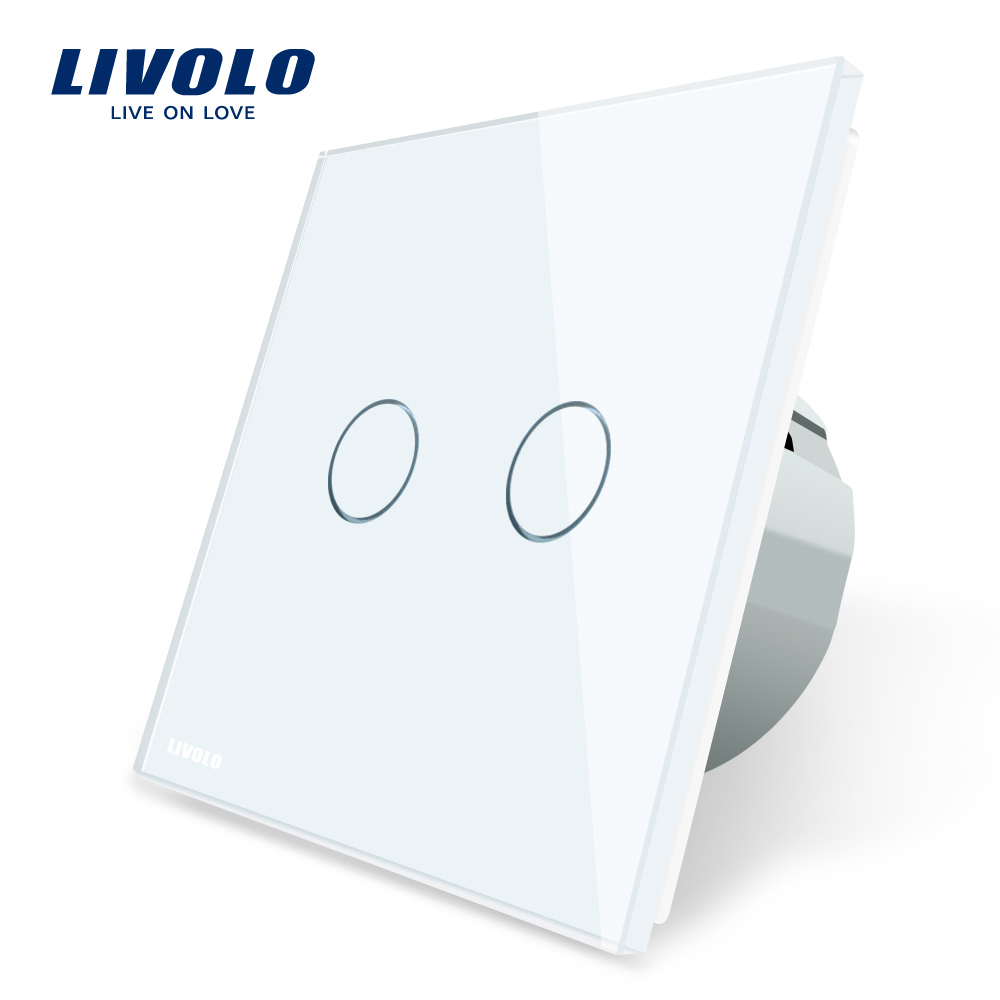 Livolo 2 Gang 1 Way Wall Touch Switch, White Crystal Glass Switch Panel, EU Standard, 220-250V,VL-C702-1/2/3/5 eu uk standard touch switch 3 gang 1 way crystal glass switch panel remote control wall light touch switch eu ac110v 250v