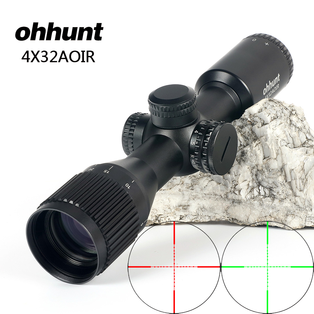 ohhunt 4X32 AOIR Tactical Compact Rifle Scope Riflescope Red Green Mil Dot Illuminated Wire Reticle Hunting Optics Sight цена
