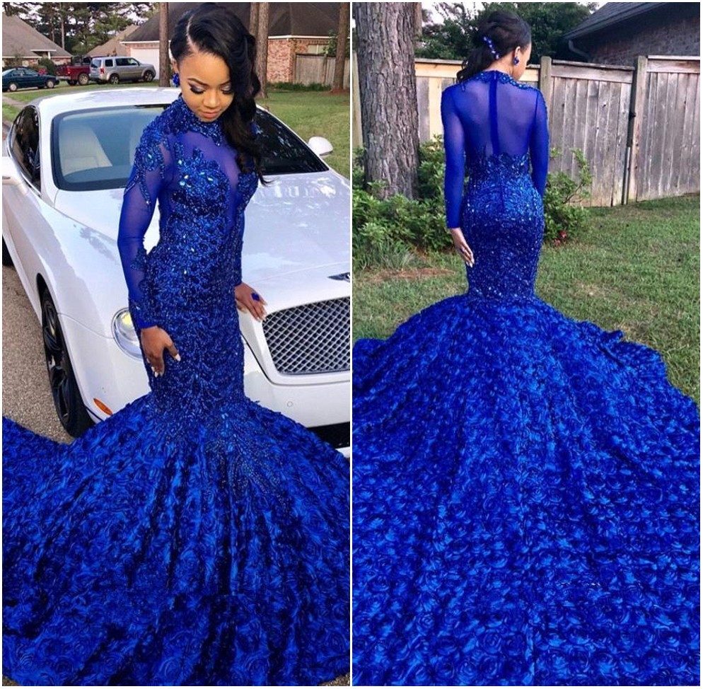 New Royal Blue Mermaid   Prom     Dresses   2K19 High Neck Long Sleeve Sheer Rose Long Train Appliques Women Formal Evening Party Gowns