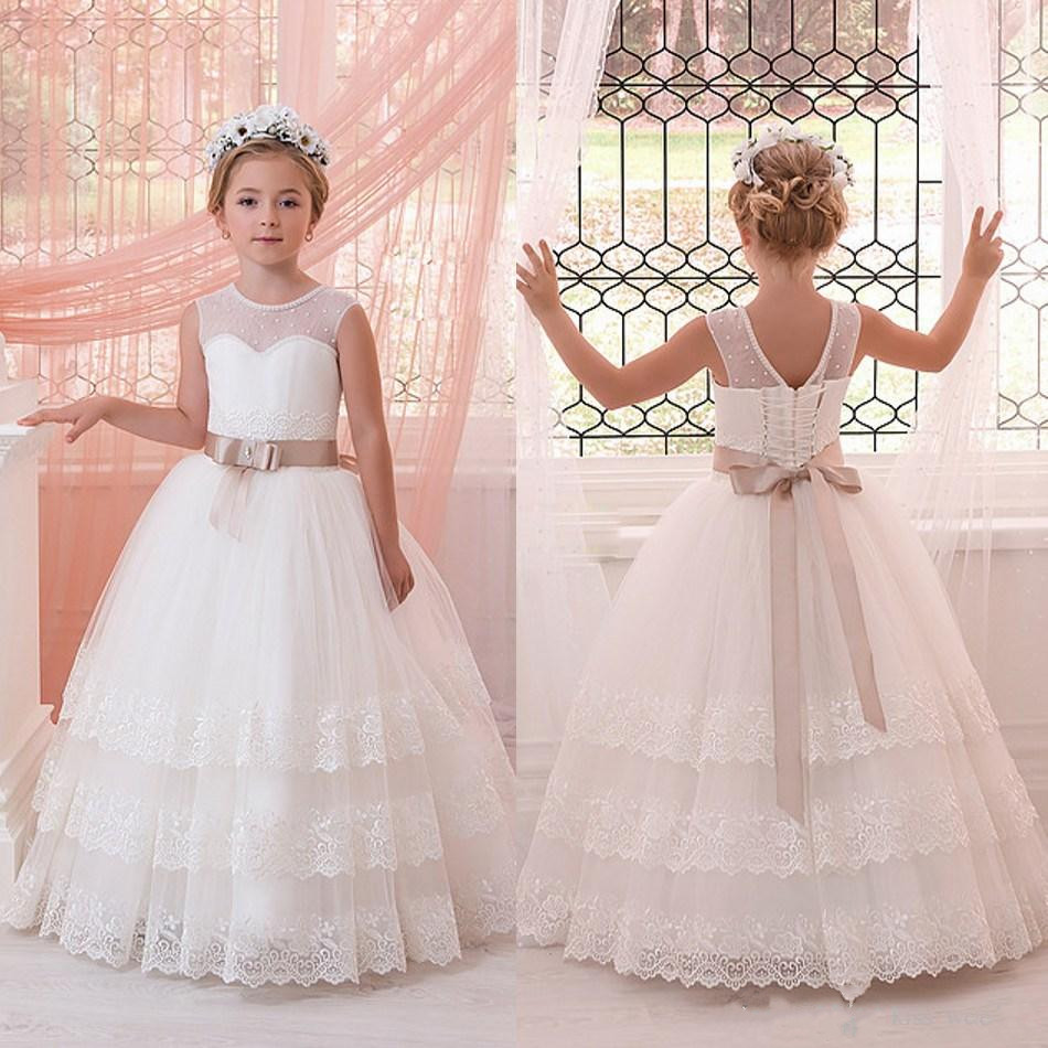 Newest Pearl Crew Neck Flower Girls Dresses For Wedding Little Girls Party First Communion Gown With Sash Custom Made 2018 purple v neck bow pearls flower lace baby girls dresses for wedding beading sash first communion dress girl prom party gown