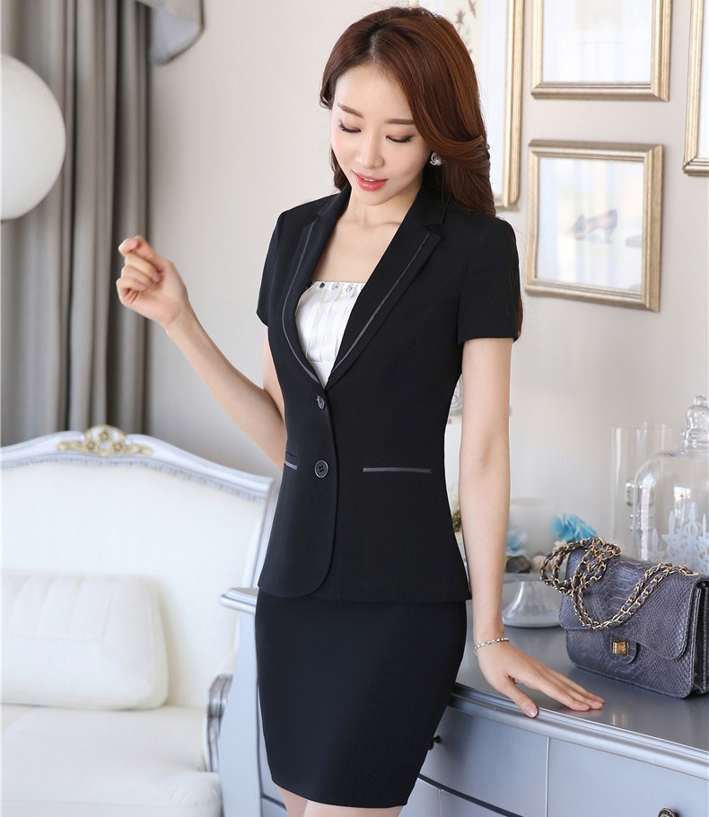 a969d957d56d Plus Size Summer Professional Business Suits Jackets And Mimi Skirt Formal  OL Styles Ladies Blazers Outfits Set Black