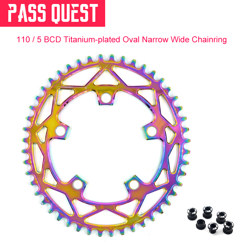 2019 New 110 5 BCD 110BCD Titanium plated Oval Road Bike Narrow Wide Chainring 42T 52T
