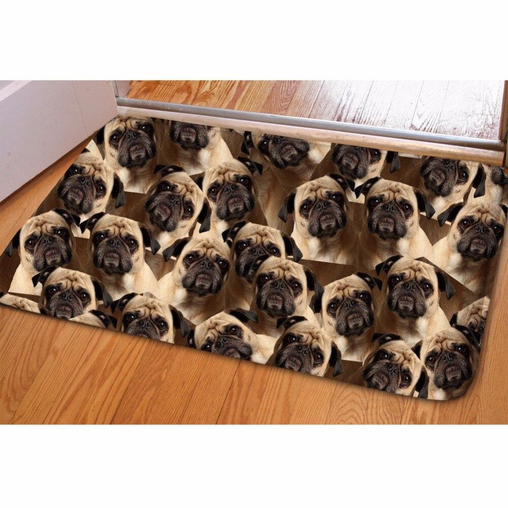 HUGSIDEA Pug Dog Printed Balcony Carpet Flannel Bathroom Doorway Non Slip  Mat Front Door Welcome Floor Salle Area Rug Decorative In Carpet From Home  ...