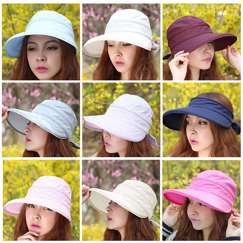 2017 New Summer Fashion Korean Style Bowknot Big Visor Cap Color Matching Beach font b Sun