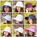2017 Nueva Moda de Verano de Estilo Coreano Del Bowknot Grande Gorra de Entonado de colores de Playa Sombrero Para El Sol Para Las Mujeres-MX8