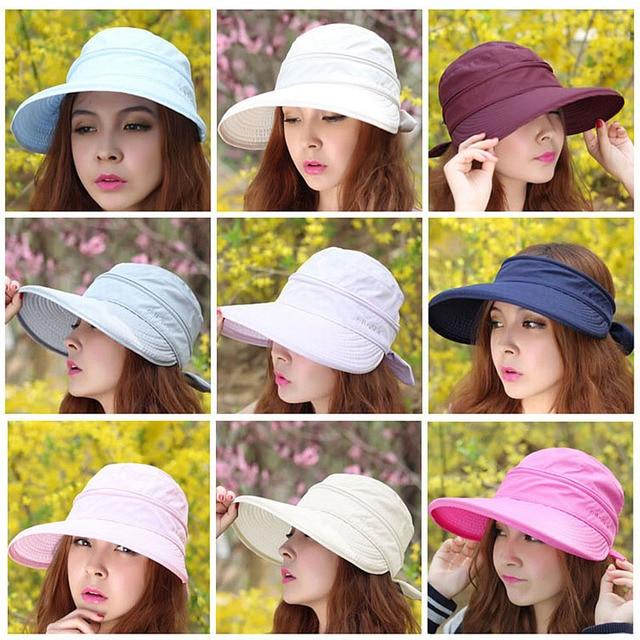 0de163df98b45 2019 New Summer Fashion Korean Style Bowknot Big Visor Cap Color Matching Beach  Sun Hat For Women -MX8