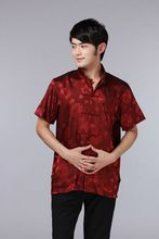 Chinese Traditional Tops satin short-sleeve shirt  Size S - 3XL