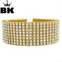 Hip Hop 8 Row Gold,Silver,Black Crystal Iced Out Bling Bracelet 8 14mm Crystal Hot Sale Bracelet For Men and Women