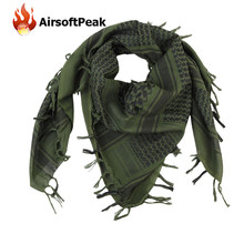 Military Arab Shemagh Kafiya Scarf Mask 100% Cotton Windproof Warm Mask for Wargame Tactical Neckerchief Hunting Accessories