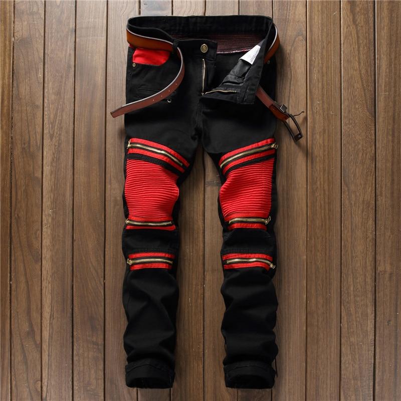 Fashion Mens Biker Jeans Pants Patch Slim Fit Pleated Knee
