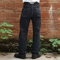 Бронсон 879 одна часть передней fly вабаш vintage indigo stripe raw denim jean
