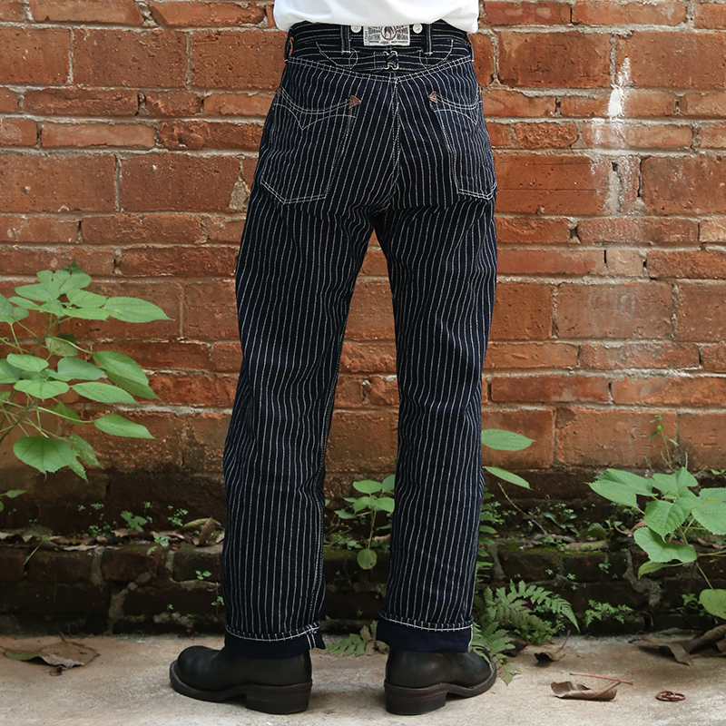 Bronson 879 One Piece Front Fly Wabash  Vintage Indigo Stripe Raw Denim Jean