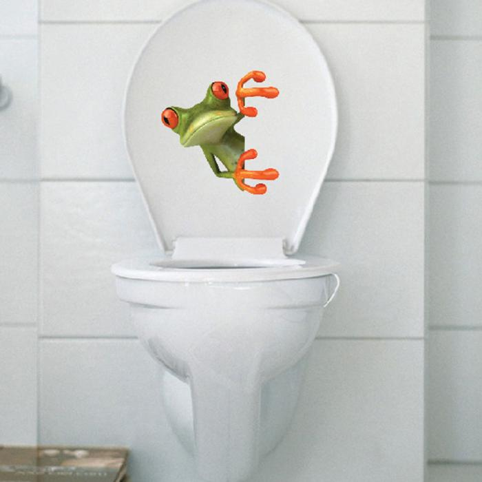 1 pcs Wall Sticker Green Frog Wall Car Bathroom Toilet Seat Lid Cover Decal Sticker Home Decor Supplies