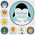 Скандинавские детские круглые коврики с рисунком снежной любви льва пингвина  компьютерное кресло  круглый коврик для детей  спальная пала...