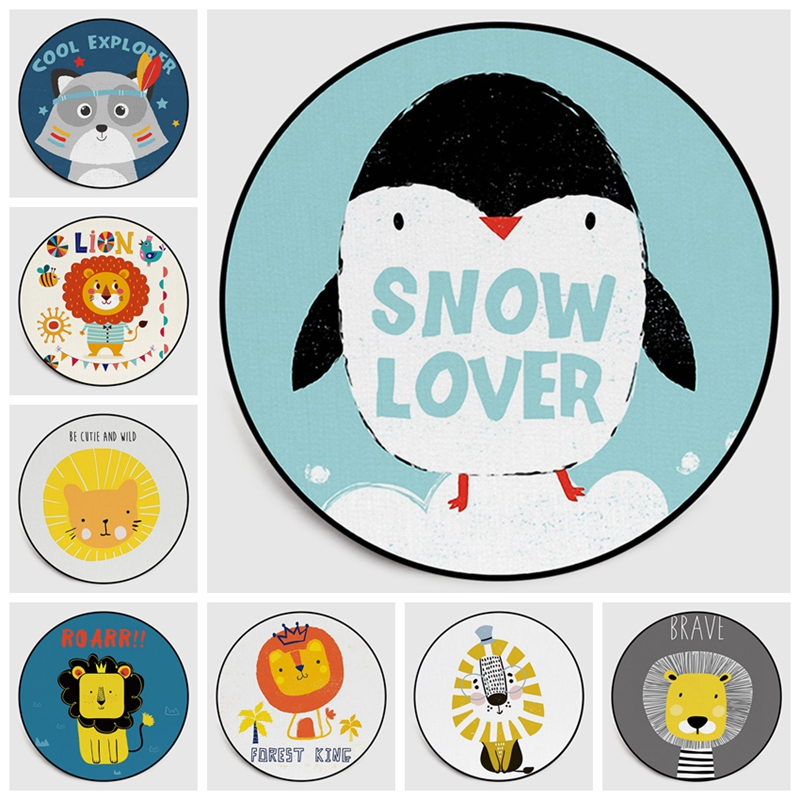 Nordic Kids Round Area Rugs Cartoon Snow Love Lion Penguin Computer Chair Circle Carpet for Children Bedroom Play Tent Floor Mat