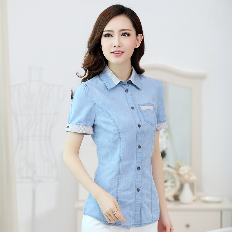 fa05e2a47bb Fashion tropical short sleeve blusa jeans shirt women cotton classic sky  blue denim blouse women shirt summer-in Blouses   Shirts from Women s  Clothing on ...