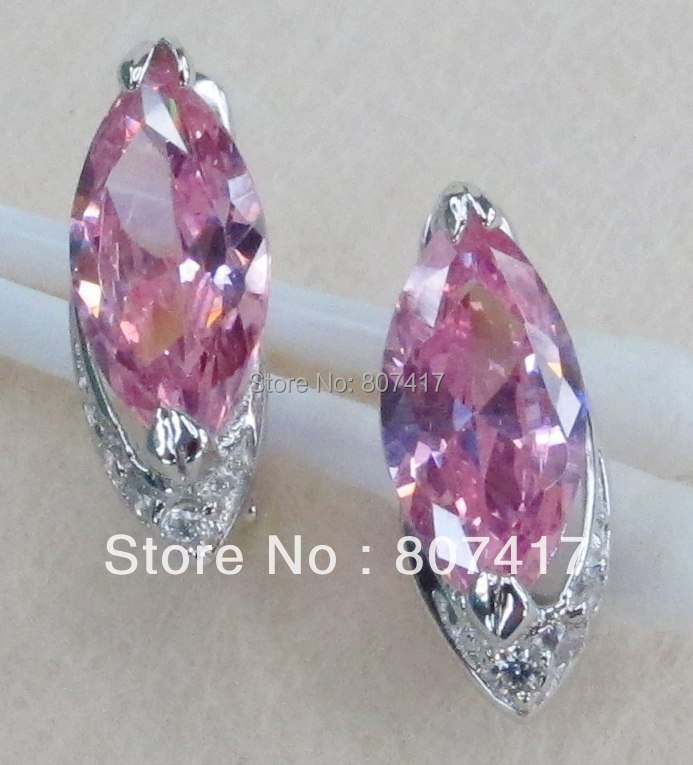 SHUNXUNZE Fashion jewelry Silver Plated Favourite Recommend Pink Cubic Zirconia Earrings R826 First class products sumptuousness
