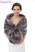 Grey Faux Fur Wraps For Women Winter Fur Cape For Brides Wholesale 2018 Fur Shawls Real