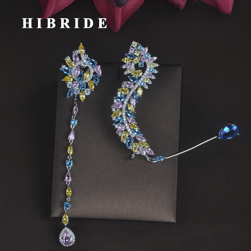 HIBRIDE New Unique Design Women Bride Party Show Drop Earrings Fashion Jewelry Brincos Pendientes Boucle d'oreille E 686-in Drop Earrings from Jewelry & Accessories