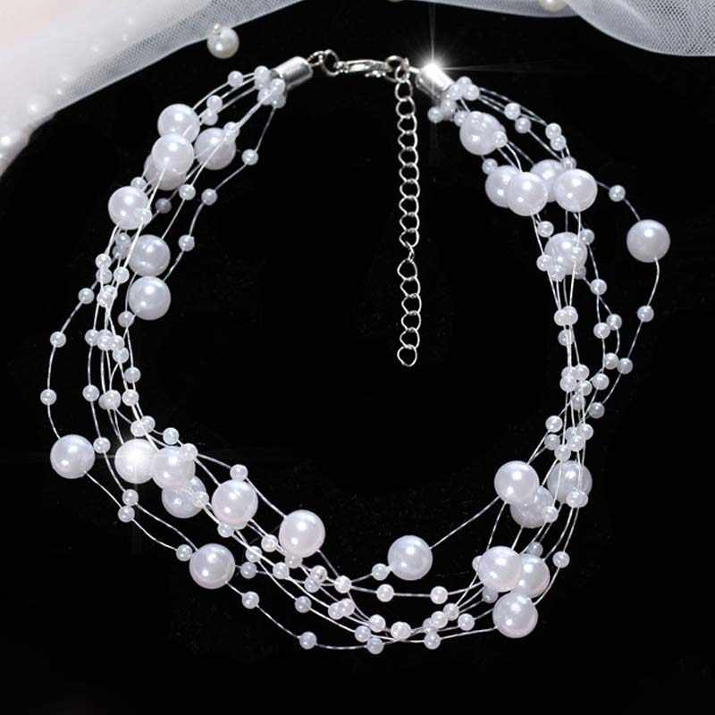 Choker Pendant Necklace for Woman Wedding Party Jewelry Artificial Pearl Female Short Wire Chain Necklaces Schmuck