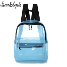 Jiessie&Angela Fashion Backpacks Women PVC Waterproof Transparent Shoulder Bag Small Backpack Travel Mochila