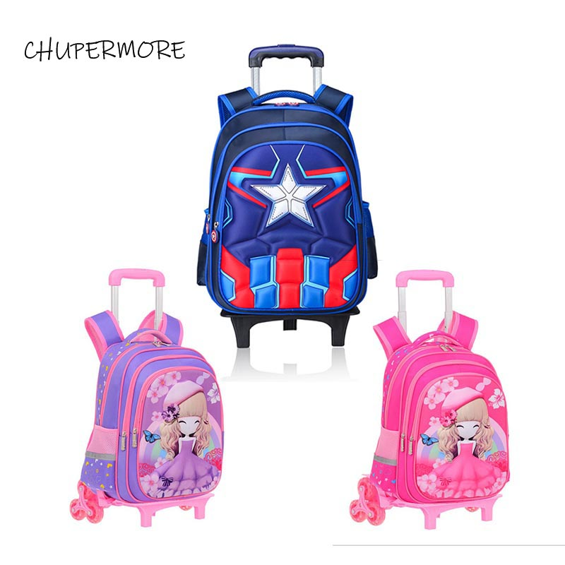 Chupermore Cute Cartoon Children Rolling Luggage Multi functional student Kids Backpack Girl Boys Suitcase Wheels