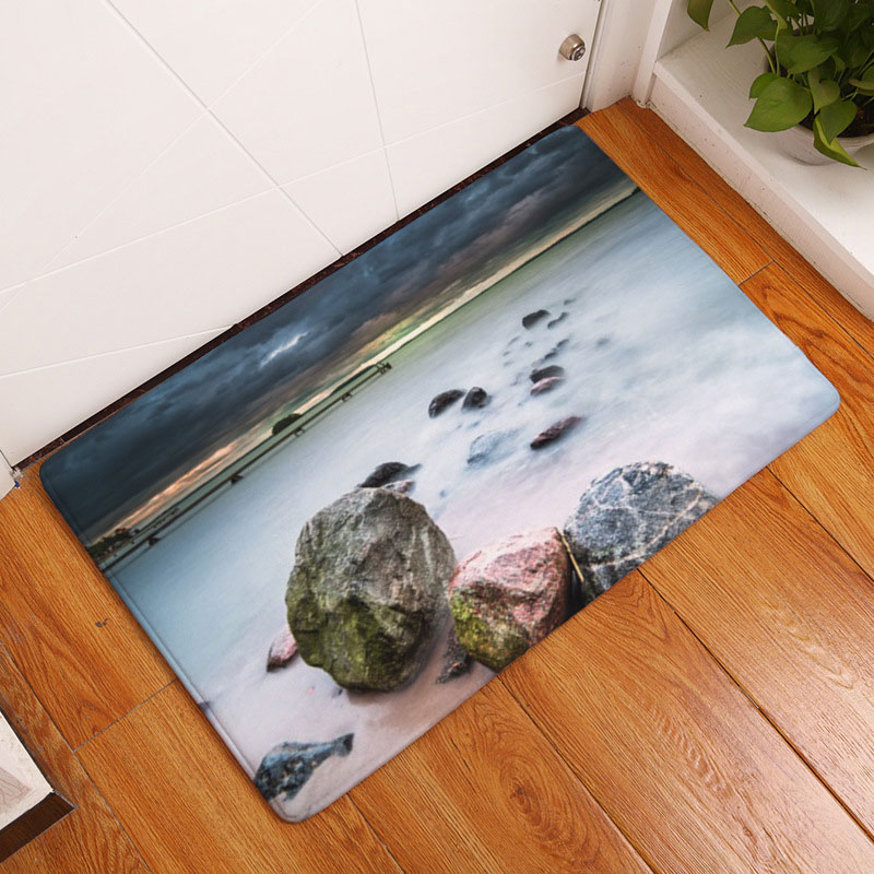 Beautiful Scenery Seaside Sunset Printing Carpets Anti-Slip Floor Mats For Bedroom Outdoor Rugs Front Door Mats Non-slip Doormat