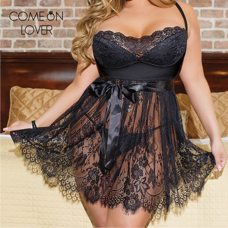 Comeonlover Dress+g String + Belt  Sexy Sleepwear Lingerie Black Lace Floral Erotic Nightgown Camisola Sexy Lingerie RE80456