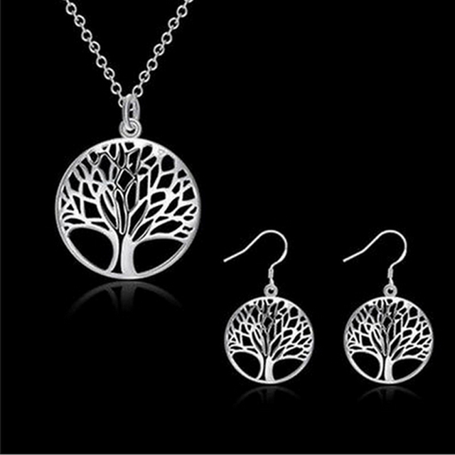 Fashion Jewelry Set Necklaces Earring Best Selling Hot Tree Of Life jewelry bridal Set Necklace Silver earrings For women gift