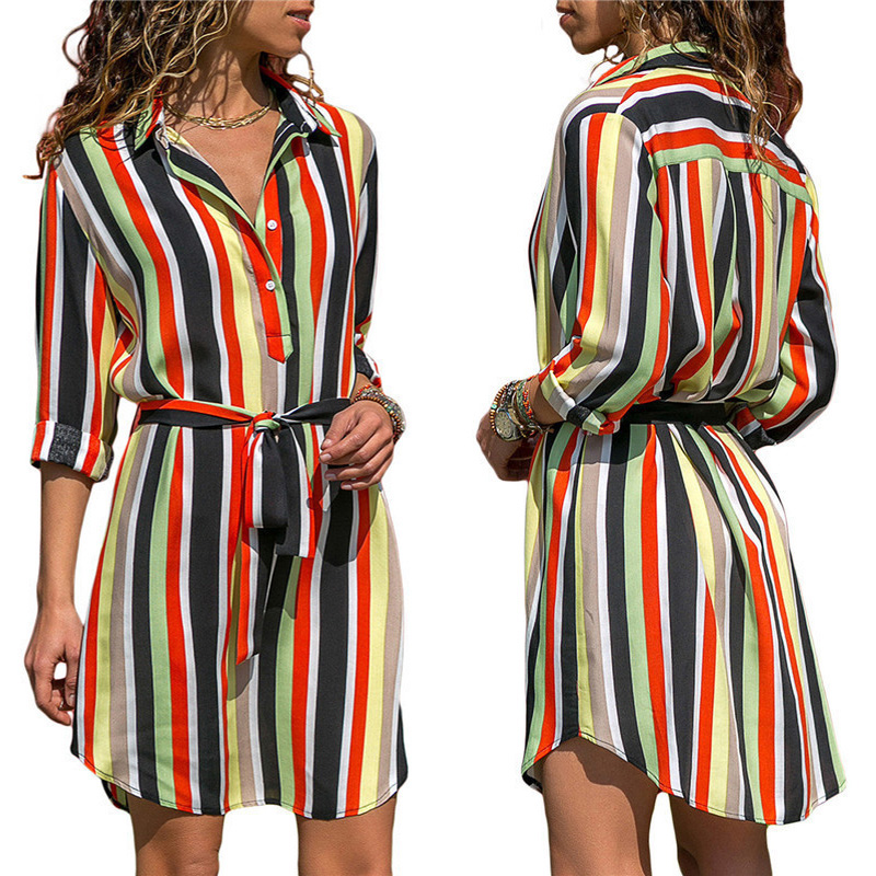 Casual Striped Print Lace Up Beach Dress Elegant Party Dresses Knee Length Button Vestidos New Autumn Dress Women Plus Size 2XL in Dresses from Women 39 s Clothing