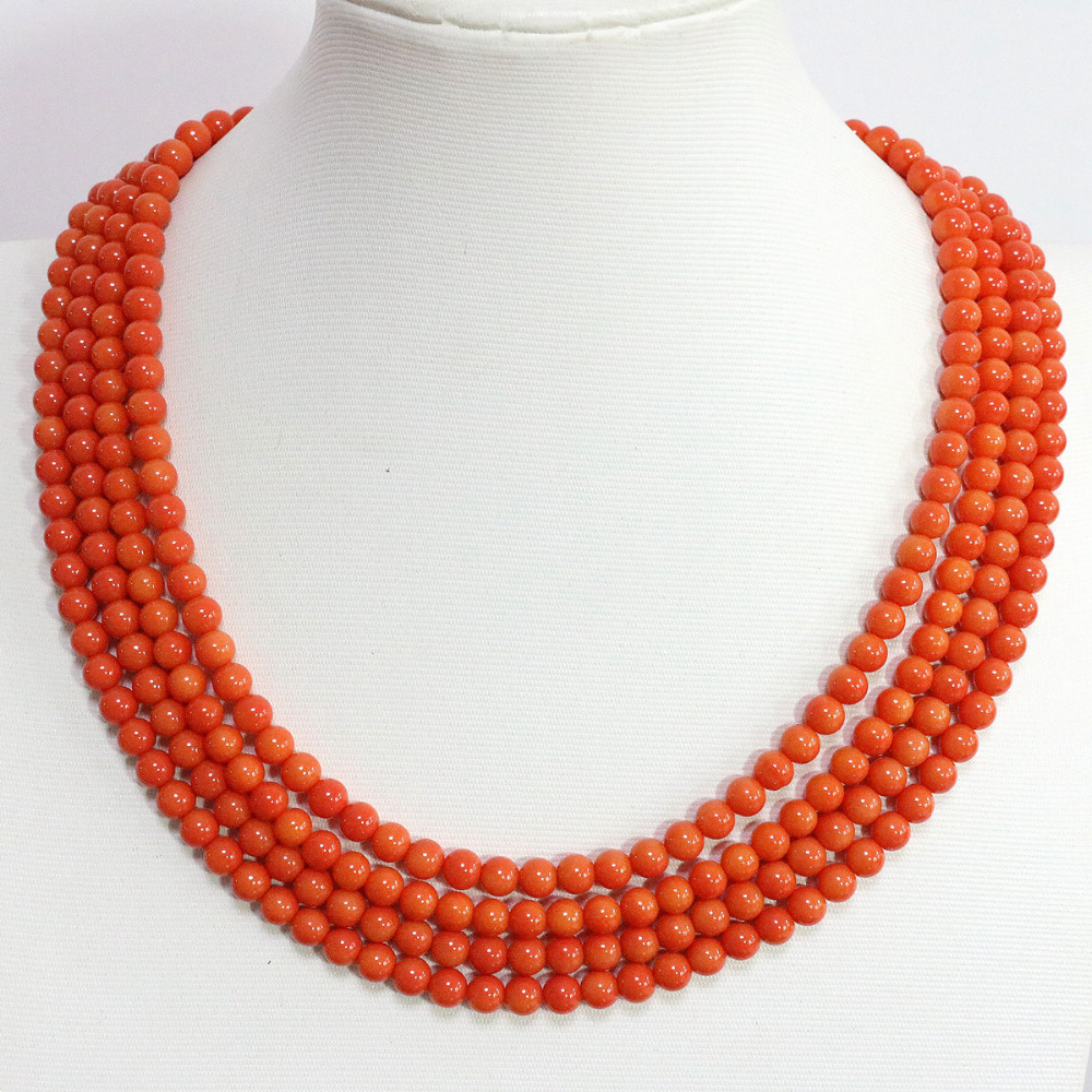 New fashion 4 rows orange artificial coral 6mm high quality round beads chains unique necklace jewelry making 17-20inch B1452