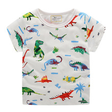 Fashion Summer Cotton Kids T Shirt Children Baby Boys Girls T-Shirts Clothes Toddler Tops Dinosaur Stripes Boy T shirt стоимость