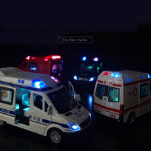 1:32 mini ambulance car police alloy pull back music light model toy christmas gift for children give 3 small dolls