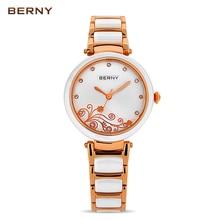 Womens Ceramic Watch Bracelet Ladies Watch the Best Luxury Brand Flower Rose Gold Quartz Wristwatches White Ceramic Watch 2791L