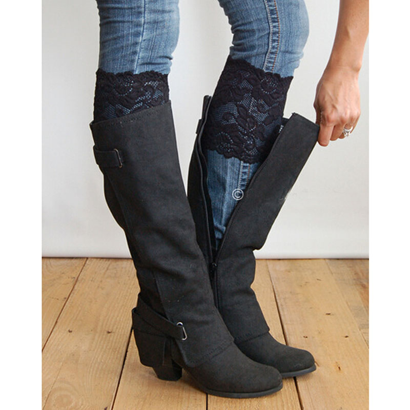 Fashion Saxy Stretch Lace Boot Cuffs Women Gilrs Legs Warmers Trim Flower Design Boot Socks Knee 2 Colors