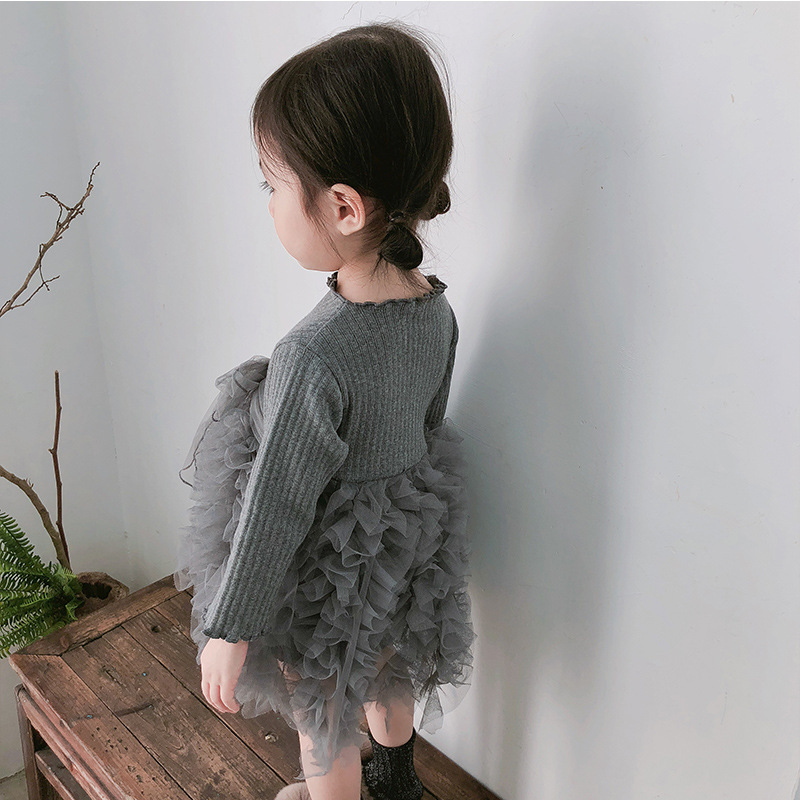 2019 Cotton Long Sleeve Knitted Kids Dresses For Girls Toddler Clothing Baby Girl Drees Tulle Patchwork Grey Pink White Spring 29