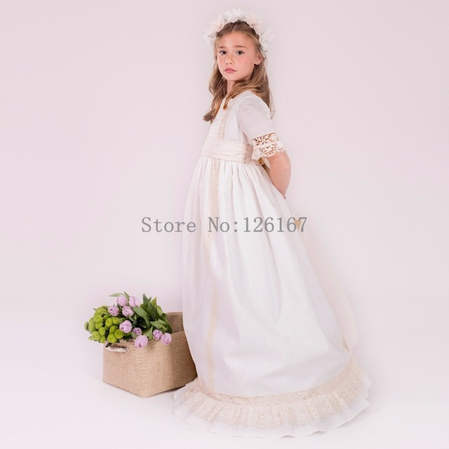 vintage first communion dresses for girls 2017 new arrival lace half