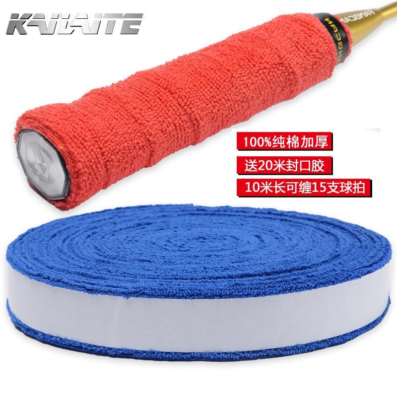 KAILITE Anti-slip Badminton Tennis Cotton 1 Reel 10M Towel Glue Grip Overgrips Badminton Racket Overgrips 6 Colors