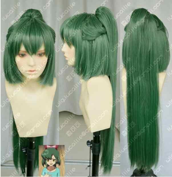 Wig Takahashi South Dark green cosplay Wig +80CM horsetail Clip Free Shipping