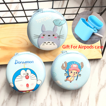For airpods case with Zipper Storage bag Cartoon PU Leather Earphone Bag Protective USB Cable Organizer Headphone Case