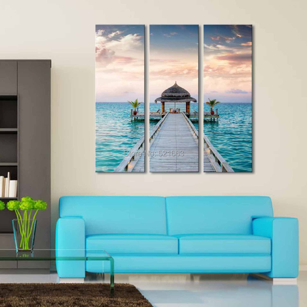 free shipping e home oil painting beach house decoration painting set of 3 home decor