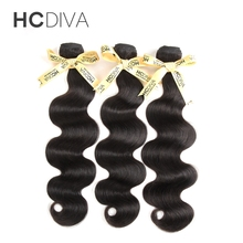 HCDIVA Peruvian Hair Body Wave Human Hair Weave Bundles Natural Black 100g piece Non Remy Hair