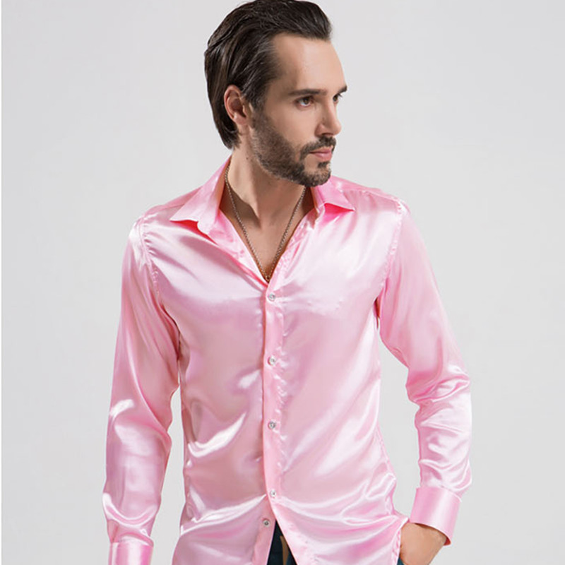 2018 New Arrival Man Tuxedo Shirts Men Elegant Emulation Silk Solid ...