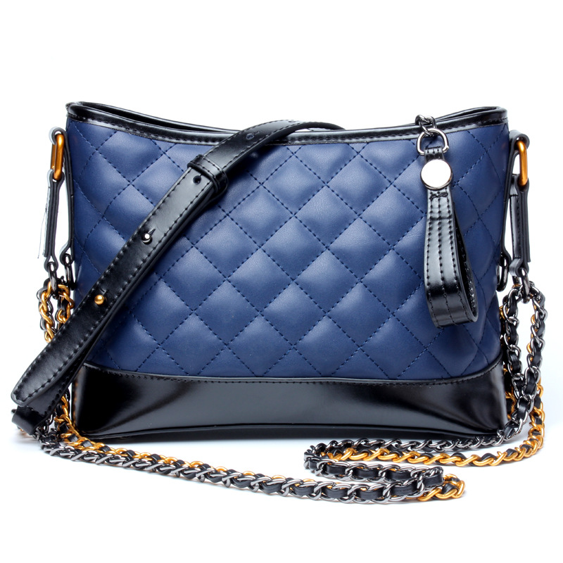 Quilted Small Hobo Chain Shoulder Bag Genuine Leather Purse Cow Leather Women Handbag Top Quality mini quilted luggage chain bag women s 2018 fashion designer quilting stitched plaided top handle shoulder bag purse handbag