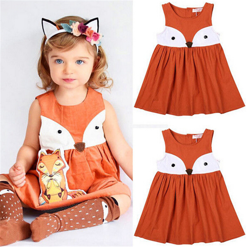 1 5Y Casual Baby Girls Toddler Kids Fox Sleeveless Dress Formal ...