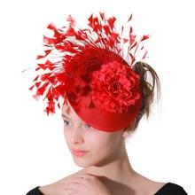 Rouge imitation Sinamay Fascinator chapeaux femmes mariée imitation événement Occasion chapeau pour Kentucky Derby église mariage fête course