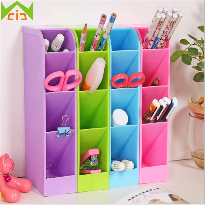 WCIC Multifunctional Desk Organizer Plastic Stationery Container Tableware Holder Cosmetics Storage Boxes Makeup Organizer Box