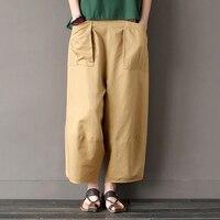 המותניים אלסטית כותנה פשתן נשים קיץ עיצוב חידוש מזדמן מכנסיים מכנסיים רגל רחבים מכנסיים מכנסיים Capris חאקי מוצק השחור A093