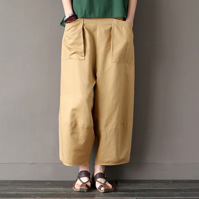 Linen Cotton Elastic waist Women Wide leg Pants Loose Casual Novelty design Summer Pants Solid Khaki Black Capris Trousers A093